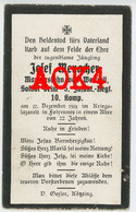 Sterbebild Carte De Deces PASSY FROYENNES 1914 Kriegslazarett Vladslo Mennacher Typhus Doodsprentje Flandern Tournai - 1914-18