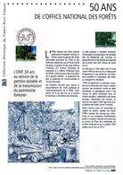 """"""" 50 ANS DE L'OFFICE NATIONAL DES FORETS ONF."""" Sur Document Philatélique Officiel De 2015  N° YT 5011. Parfait état DPO - Documents De La Poste"""