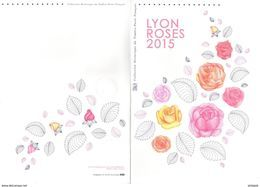 """FRANCE 2015 : """" LYON ROSES 2015 """" Sur Document Philatélique Officiel De 4 Pages. N° YT 4957 4958. DPO - Documents Of Postal Services"""