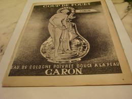 ANCIENNE PUBLICITE PARFUM COUP DE FOUET DE CARON 1957 - Perfume & Beauty