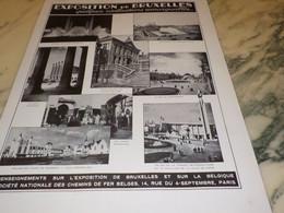 ANCIENNE PUBLICITE EXPOSITION DE BRUXELLES 1935 - Publicité