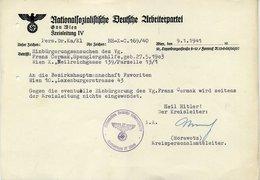 Ostmark; Brief Der NSDAP, Gau Wien; Betr. Einbürgerung; 9. 1. 1941 - Documents Historiques