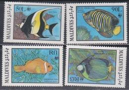 Maldives N° 1077 / 80 XX Faune Marine : La Série Des 4 Valeurs Sans Charnière, TB - Maldives (1965-...)