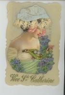 FEMMES - FRAU - LADY - Magnifique Carte CELLULOID Avec Ajoutis Bonnet Brodé SAINTE CATHERINE Et épingle à Chapeau - Sainte-Catherine