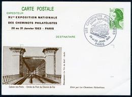 """Type Liberté 1f60- Cachet Illustré """"les Cheminots Philatélistes"""" Paris 1983 - Entiers Postaux"""