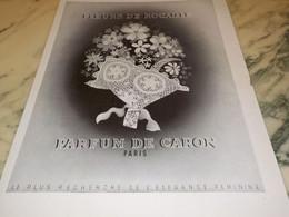 ANCIENNE PUBLICITE PARFUM FLEURS DE ROCAILLE DE CARON 1935 - Perfume & Beauty