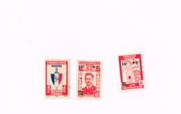 Cité Universitaire,Roland Garros,SEcours National. (x) Emis Sans Gomme.Yvert 277,281,283 - Indochine (1889-1945)