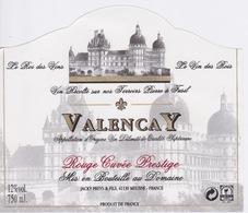 ANCIENNE ETIQUETTE VIN ROUGE  - CHATEAU DE VALENCAY - CUVEE PRESTIGE  MEUSNE - - Castles