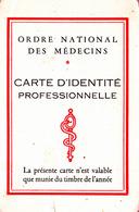 CARTE IDENTITE PROFESSIONNELLE ORDRE NATIONAL DES MEDECINS AUDE 1972 - Cartes