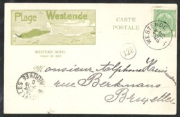 WESTENDE Plage Westend'Hotel Geïllustreerde Kaart Verzonden 1904 - Westende