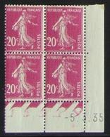 Semeuse 20 C. Rose 190 En Bloc De 4 Coin Daté - Pas Cher - 1906-38 Semeuse Camée