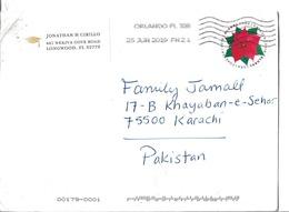 USA 2018Global Forever Poinsettia Postal History Cover Sent To Pakistan - Cartas