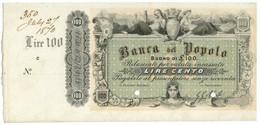 100 LIRE BANCA DEL POPOLO SPECIMEN CON MATRICE NON EMESSO CA 1870 FDS-/FDS - [ 8] Fictifs & Specimens