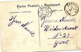 SH 0082. CP Sm CAPPELLEN 4.IX.1914 V. GAND. Arr. GENT 1 - 6.IX.14. TB - Guerre 14-18