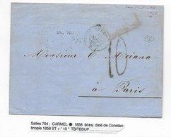"""TURQUIE - 1858 - LETTRE De CONSTANTINOPLE PAQUEBOT De La MEDITERRANEE """"CARMEL"""" BLEU => PARIS - Postmark Collection (Covers)"""