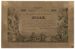 1000 FIORINI VAGLIA DEL MONTE LOMBARDO VENETO VALUTA AUTRIACA 15/06/1859 SPL - Italia