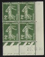 Semeuse 2 C. Vert 278  Bloc De 4 Coin Daté - Pas Cher - 1906-38 Säerin, Untergrund Glatt