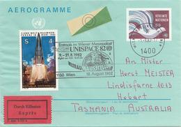 AEROGRAMM VN UNISPACE 82 EXPRESS - 4 + 9 S Österreich Und Vereinte Nationen + Sonderstempel - Wien - Internationales Zentrum