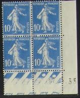 Semeuse 10 C. Outremer 279 En Bloc De 4 Coin Daté - Pas Cher - 1906-38 Semeuse Camée