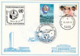 Ö + VN 1988 - 6 + 7,5 S Österreich Und Vereinte Nationen + Sonderstempel Auf Karte - Wien - Internationales Zentrum