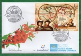 1685aURUGUAY 2019-En FDC ( X Por 10) 500 Años De La Primera Vuelta Al Mundo TT: Mapas,Barcos,Banderas,Brújulas,Sombreros - Uruguay