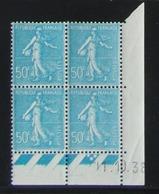 Semeuse 50 C. Turquoise 362  Bloc De 4 Coin Daté - Pas Cher - 1903-60 Semeuse Lignée