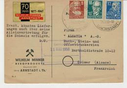 Carte Pour COLMAR En France Aff. 3 Valeurs - Briefe U. Dokumente