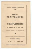 LIVRET 24 PAGES 1er AVRIL 1966 - PERSONNEL COMMUNAL REMUNERATION - BAREMES TRAITEMENTS & COMPLEMENTS - RIBEMONT AISNE (0 - Alte Papiere