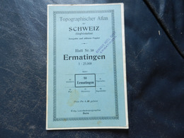 12.4) CARTA MAPPA ERMATINGEN BLATT 50 1926 MANNENBACH BERLINGEN UNTERSEE - Carte Topografiche