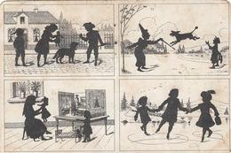SCHERENSCHNITTE KARTE - 4 Scenen, Gel.1925, Rheinland Pfalz Frankierung - Scherenschnitt - Silhouette