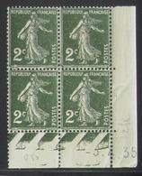 Semeuse 2 C. Vert 278 En Bloc De 4 Coin Daté - Pas Cher - 1906-38 Säerin, Untergrund Glatt