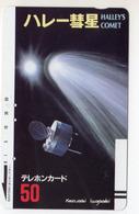 JAPON TELECARTE ANCIENNE NTT FRONTBAR BARCODE 110-1348 COMETE DE HALLEYS - Espacio