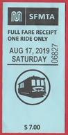 Ticket Pour Le Tramway De San Francisco. Câble Car. Californie. Etats Unis. 2019. - Tramways