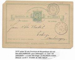 1895 - CP De MOZANBIQUE CACHET MARITIME LA REUNION A MARSEILLE L.V N°1 + ZANZIBAR !! => CETINJE MONTENEGRO !! - Mozambique