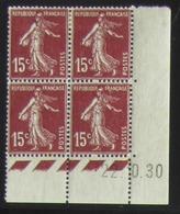 Semeuse 15 C. Brun 189 En Bloc De 4 Coin Daté - Pas Cher - 1906-38 Säerin, Untergrund Glatt