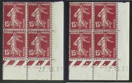 Semeuse 15 C. Brun 189 En Paire De 2 Blocs De 4 Coin Daté - Pas Cher - 1906-38 Säerin, Untergrund Glatt