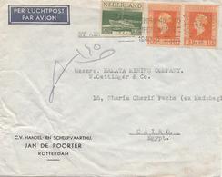 NEDERLAND 1940 - 3 Fach Frankatur Auf LP-Brief Von Rotterdam > Cairo - 1891-1948 (Wilhelmine)