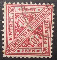 N°583B TIMBRE DEUTSCHES REICH WURTEMBERG OBLITERE - Wurttemberg
