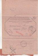 """FRANCE : TYPE SAGE . CHARGE . AVIS ROSE . DE """" CASTIGLIONE """" ( ALGERIE ) . TB . 1884 . - Marcophilie (Lettres)"""