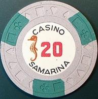 $20 Casino Chip. Casino Samarina, Quito, Ecuador. Q14. - Casino