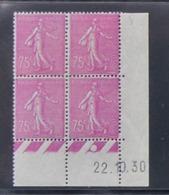 Semeuse 75 C. Lilas 202 En Bloc De 4 Coin Daté - Pas Cher - 1903-60 Semeuse Lignée