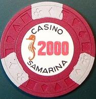 $2000 Casino Chip. Casino Samarina, Quito, Ecuador. Q14. - Casino