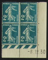 Semeuse 2 F. Vert 239 En Bloc De 4 Coin Daté - Pas Cher - 1906-38 Säerin, Untergrund Glatt