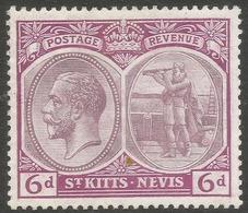 St Kitts-Nevis. 1920-22 KGV. 6d MH. Mult Crown CA W/M SG 30 - San Cristóbal Y Nieves - Anguilla (...-1980)