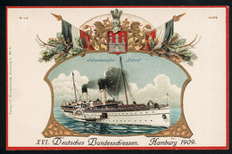 AK/CP Gold Präge Litho  Hamburg  Dampfer Cobra  Bundesschiessen 1909   Ungel./uncirc.  Erhaltung/Cond. 1- / 2  Nr. 00869 - Allemagne