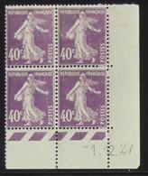 Semeuse 40 C. Violet 236 En Bloc De 4 Coin Daté - Pas Cher - 1906-38 Säerin, Untergrund Glatt