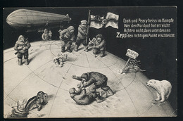 AK/CP Zeppelin Am Nordpol  Polar Expedition Humor  Eisbär  Robbe  Ungel./uncirc. Ca. 1910  Erhaltung/Cond. 2-  Nr. 00870 - Dirigibili