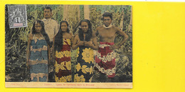 "TAHITI Rare Colorisée ""toilée"" Types De Tahitiens Dans La Brousse (Bopp Marché Colonial) - Tahiti"