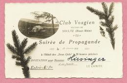 68 - SOULTZ - Carte D' Invitation Du CLUB VOSGIEN - Carte Photo - Hôtel Des Deux Clefs - Soire De Propagande - Soultz