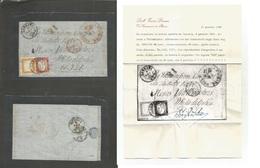 ITALIAN STATES - Sardinia. 1862 (8 Jan) Carrara - USA, Philadelphia (31 Jan) Via Genova (9 Jan) France (12 Jan) + Ship P - Italy